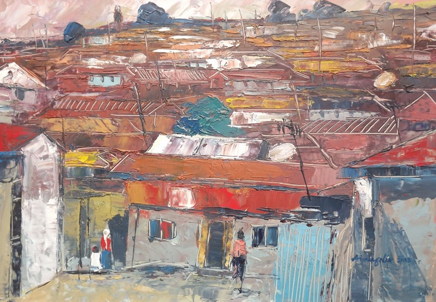 Investigation Into Rural Lagos (2012) - Oil on paper - 12 x 17 in