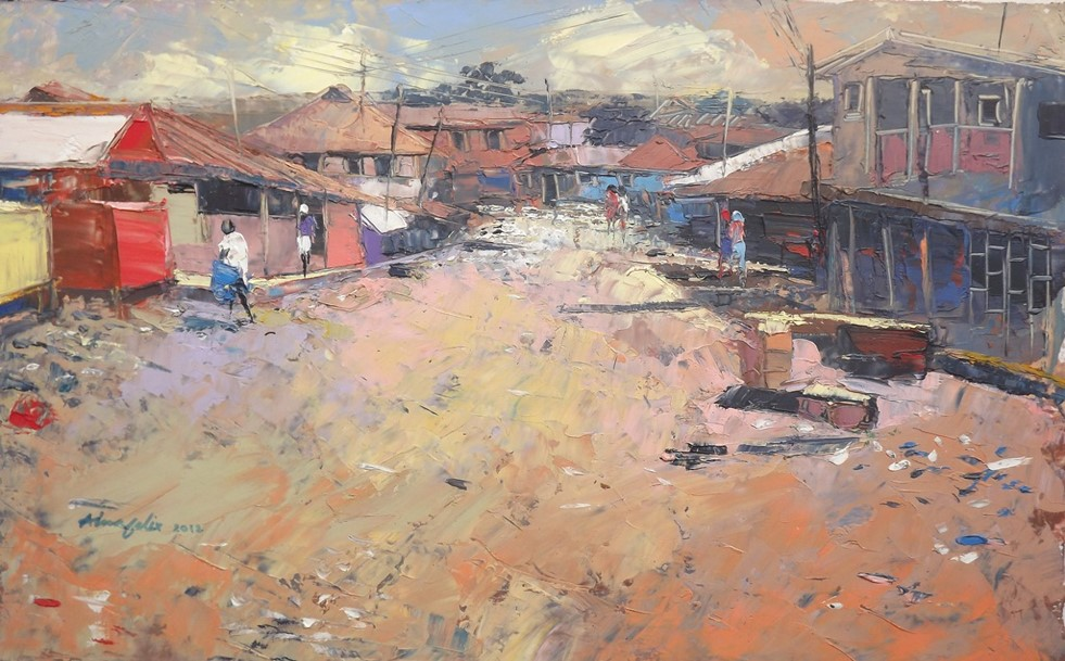 Investigation Into Rural Lagos II (2012) - Oil on paper - 12 x 17 in
