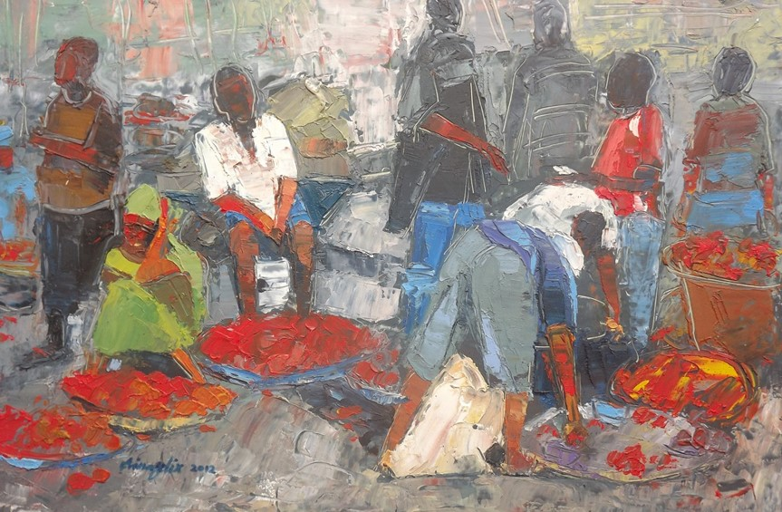 Investigation Into Rural Lagos III (2012) - Oil on paper - 12 x 17 in