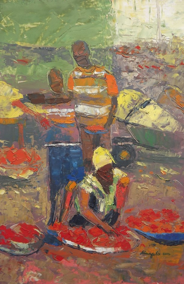 Investigation Into Rural Lagos IX (2012) - Oil on paper - 12 x 17 in