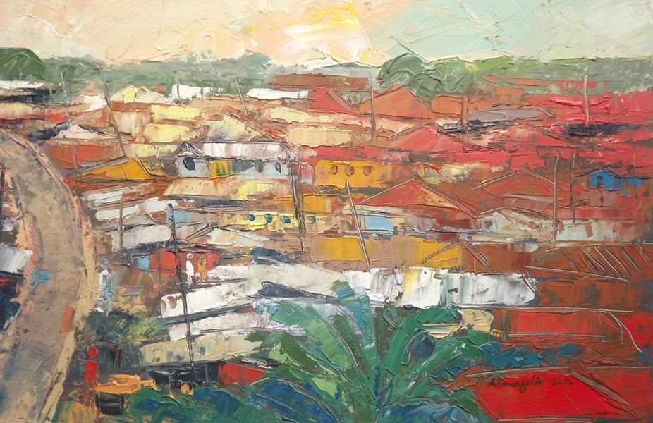 Investigation Into Rural Lagos X (2012) - Oil on paper - 12 x 17 in