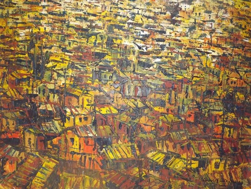Akhile Ehiforia - City Roof (2013) - Acrylic on canvas - 35 x 48 in