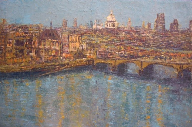 Panoramic View of London at Night I (2013) - Acrylic on canvas - 74 x 48 in