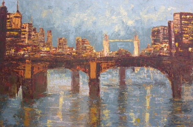 Panoramic View of London at Night II (2013) - Acrylic on canvas - 74 x 48 in