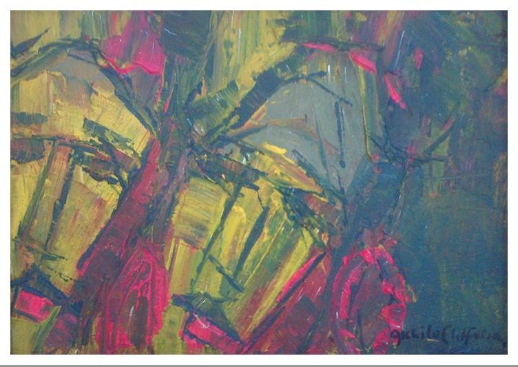 Akhile Ehiforia - Untitled (2013) - Acrylic on canvas - 15 x 21 in