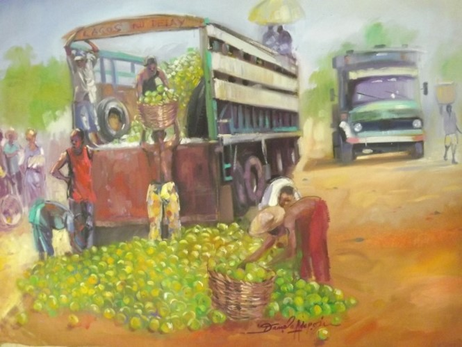 Orange Market (2011) - Acrylic on canvas - 29 x 29 in