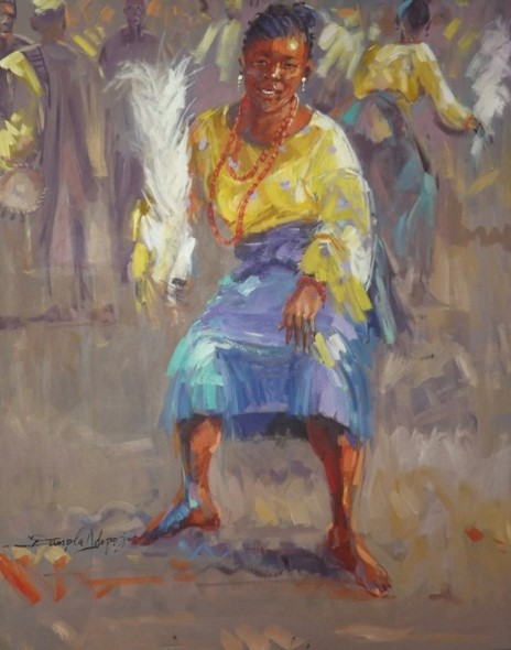 Traditional Dancer (2012) - Acrylic on canvas - 36 x 29 in