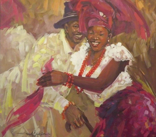 Warri Dancers (2006) - Acrylic on canvas - 33 x 33 in