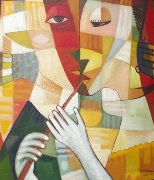 The Flutist (2012) - Acrylic on canvas - 47 x 47 in