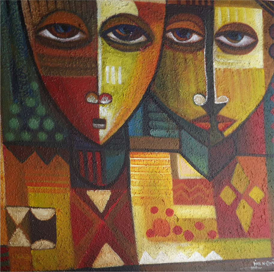 Two Sisters (2011) - Acrylic on canvas - 47 x 47 in