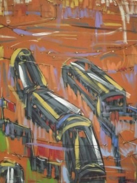 Men at Work (2010) - Acrylic on canvas - 36 x 47 in