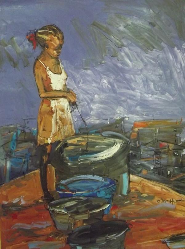 Ola Oluwa Town (2013) - Acrylic on canvas - 36 x 48 in