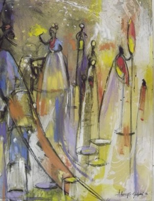 Royal Family (2012) - Acrylic on canvas - 35 x 47 in