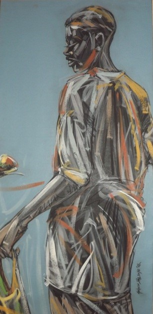 Voice of the Market (2008) - Acrylic on canvas - 51 x 25 in
