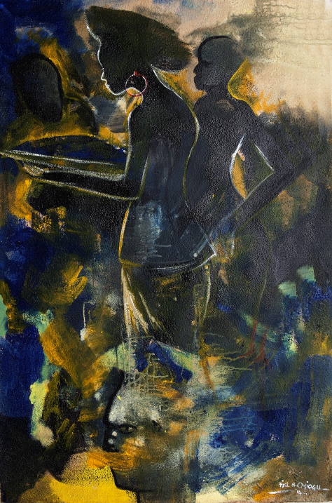 A Drift in the Dream (2014). Acrylic and cretonne on canvas. 122cm x 80cm