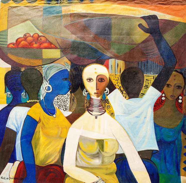 Calabash Market (2009). Acrylic and cretonne on canvas. 120cm x 120cm