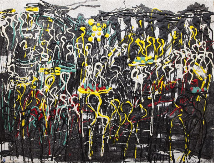 Exchange Point (2014). Acrylic glue and cretonne on canvas. 130cm x 98cm