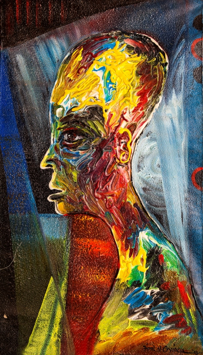 Sage Musings (2011). Acrylic and cretonne on canvas. 61cm x 91cm