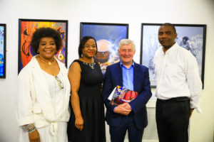 The Mayor and Police and Crime Commissioner of Manchester with Mr & Mrs Onwudiwe and Dr May Blossom Brown at the opening day of Chuck Gallery's Summer Exhibition, Seeing in Black and White