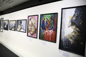 Some of the works on display at the opening day of Chuck Gallery's Summer Exhibition, Seeing in Black and White.