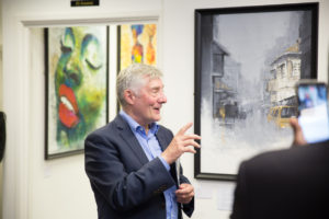 The Mayor and Police and Crime Commissioner of Manchester, Mr Tony Lloyd, at the opening day of the summer exhibition in Chuck Gallery,, Seeing in Black and White